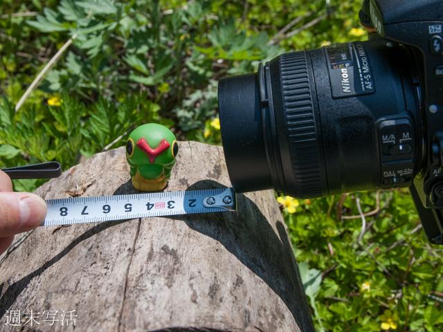 マクロレンズの最短撮影距離の説明写真